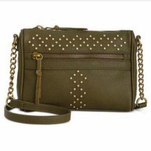 INC Genuine Leather ArmyGreen Aubree Crossbody Bag